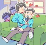 4boys ass ass_grab black_hair blue_suit blush bowl_cut brothers cellphone choromatsu constricted_pupils couch formal half-closed_eyes heart hono1212 incest jyushimatsu loose_necktie male_focus mouth_hold multiple_boys necktie osomatsu-kun osomatsu-san osomatsu_(osomatsu-kun) phone recording siblings sitting sitting_on_person smartphone smile straddling suit todomatsu triangle_mouth wariza window yaoi