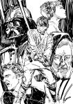 1girl 4boys darth_vader energy_sword han_solo lightsaber luke_skywalker marker_(medium) multiple_boys obi-wan_kenobi pen_(medium) princess_leia_organa_solo star_wars sword traditional_media weapon yoshinari_you