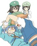 4girls absurdres aoyoshi backpack bag black_hair blonde_hair blue_eyes blue_hair brown_eyes dark_haired_kappa extra fang glasses hair_bobbles hair_ornament hat highres kappa kappa_mob kawashiro_nitori key multiple_girls open_mouth rimless_glasses short_hair simple_background tagme touhou twintails two_side_up white_background