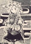 1girl graphite_(medium) hat monochrome ribbon rod_of_remorse shiki_eiki short_hair skirt solo touhou traditional_media wadante