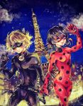1boy 1girl absurdres black_hair blue_eyes bodysuit chat_noir domino_mask eiffel_tower felix_(miraculous_ladybug) green_sclera helium_(alethea_yarin) hetero highres holding_hands ladybug_(character) long_hair low_twintails magical_girl marinette_cheng mask miraculous_ladybug night night_sky polka_dot sky twintails