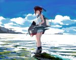 1girl bangs blue_eyes blue_legwear brown_hair cannon clouds condensation_trail crane fujibejifu hat kantai_collection kneehighs legs_together looking_at_viewer machinery mountain ocean outdoors sailor_collar sailor_hat ship short_hair sky sleeveless solo standing wading waves z3_max_schultz_(kantai_collection)