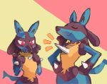 blush breast_envy closed_eyes emphasis_lines hands_on_hips lucario no_humans pokemon pokemon_(creature) puh red_eyes smug