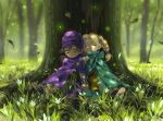 1boy 1girl against_tree bianca blonde_hair braid cape child closed_eyes dappled_sunlight dragon_quest dragon_quest_v earrings flower forest grass hat hero_(dq5) jewelry leaf nature seeker sitting sleeping tree twin_braids