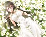 1girl ahoge antenna_hair bare_shoulders beifeng_han black_hair breasts butterfly butterfly_on_hand butterfly_on_head cleavage dress field flower flower_field hair_between_eyes hands_on_own_chest large_breasts long_hair looking_at_viewer lying on_back open_mouth original skirt solo violet_eyes wavy_hair white_dress