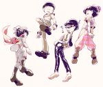 4boys 720_72 alternate_costume bellbottoms black_hair brothers fishnet_top fishnets from_below hat heart jacket knee_pads leather leather_pants looking_down male_focus matsuno_choromatsu matsuno_karamatsu matsuno_osomatsu matsuno_todomatsu mini_top_hat multiple_boys osomatsu-kun osomatsu-san pants scarf siblings sunglasses suspenders top_hat triangle_mouth vest white_background