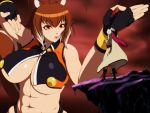 2girls abs animal_ears blazblue blazblue:_continuum_shift breasts brown_hair cape cleavage fighting_stance fingerless_gloves g_gundam gloves gundam hat huge_breasts long_hair makoto_nanaya midriff multiple_girls orange_eyes parody qlinicx redhead short_hair squirrel_ears squirrel_tail sword tail tsubaki_yayoi under_boob weapon