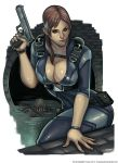1girl blue_eyes bodysuit bracelet breasts brown_hair catsuit cleavage covered_navel elizabeth_torque eyebrows gun hair_over_shoulder handgun harness highres jewelry jill_valentine large_breasts lips nose pistol ponytail resident_evil skin_tight solo weapon zombie
