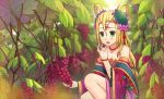 1girl bare_shoulders blonde_hair blush chinese_clothes circlet collarbone eating flower food fruit grapes green_eyes hair_flower hair_ornament hair_rings jewelry long_hair meimei_(p&d) necklace off_shoulder open_mouth piza_rokumai puzzle_&_dragons solo turtle_shell