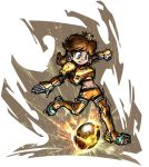 1girl armor ball blue_eyes breastplate brown_hair cleats clenched_hand crown earrings electricity energy flipped_hair flower_earrings gauntlets greaves jewelry long_hair mario_(series) mario_strikers_charged masanori_sato midriff navel official_art outstretched_arm pauldrons princess_daisy shorts soccer solo