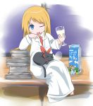 >_< 1girl ;d barefoot black_cat blonde_hair blue_eyes book_stack cat closed_eyes cup drinking_glass highres katsuo9 labcoat long_hair milk necktie nichijou nose_bubble one_eye_closed open_mouth professor_shinonome sakamoto_(nichijou) sitting sleeping smile wine_glass