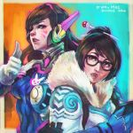 2girls absurdres brown_eyes brown_hair character_name completion_time d.va_(overwatch) facial_mark fur_collar glasses gloves hair_ornament hairpin highres lips mei_(overwatch) monori_rogue multiple_girls nose one_eye_closed overwatch violet_eyes white_gloves