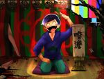 1boy akiomi_aiko arm_up arrow black_hair blood closed_eyes closed_fan curtains denim fan flower_(symbol) folding_fan hoodie jeans lantern legs male_focus matsuno_karamatsu noose osomatsu-kun osomatsu-san pants paper_lantern paw_print rakugo seiza sitting smile solo spotlight striped test_card translation_request tree