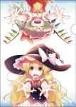 2girls :d ^_^ aozora_market ascot blonde_hair closed_eyes dress fangs flandre_scarlet hair_ribbon hat incoming_hug kirisame_marisa mob_cap multiple_girls open_mouth outstretched_arms reaching_out ribbon side_ponytail skirt smile touhou tress_ribbon upside-down vest wavy_hair wings witch_hat yellow_eyes