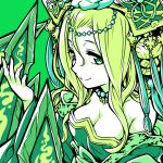 1girl bare_shoulders blonde_hair breasts chinese_clothes circlet cleavage dress green green_background green_eyes hair_between_eyes headdress highres ishiyumi long_hair looking_at_viewer meimei_(p&d) off_shoulder puzzle_&_dragons simple_background smile solo tassel