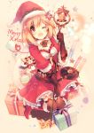 1girl ;d alternate_costume ball bangs beige_background belt black_gloves blonde_hair blush boots bowtie box character_request christmas confetti djeeta_(granblue_fantasy) dress flower frills fur_trim gift gift_box gloves granblue_fantasy hair_flower hair_ornament hat holding_staff kirero knee_boots kneeling lace merry_christmas navel navel_cutout one_eye_closed open_mouth red_boots red_dress red_eyes red_flower red_hat ribbon santa_costume santa_hat scarf short_hair smile smoke sparkle star striped striped_bowtie striped_ribbon thigh-highs
