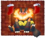 christmas_stocking emboar fireplace flame fuzziestdrawings looking_at_viewer no_humans pokemon pokemon_(creature) red_eyes sitting smile