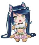 1girl :d absurdres albireo_(yumekui_merry) animal_ears bandages bandeau belt blue_hair blush_stickers brown_gloves brown_legwear cat_ears cat_tail chibi collar cototiworld elbow_gloves fangs fur-trimmed_legwear fur_trim gloves green_eyes highres long_hair looking_at_viewer marker_(medium) open_mouth panties pantyshot simple_background sitting slit_pupils smile solo tail thigh-highs traditional_media twintails underwear very_long_hair wariza white_background white_panties yumekui_merry