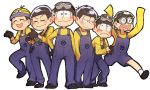 6+boys :3 :d :  ^_^ adjusting_clothes adjusting_gloves arms_up baba639 black_gloves black_hair black_shoes blush blush_stickers brothers character_hat closed_eyes contrapposto cosplay crossover despicable_me full_body gloves goggles goggles_around_neck goggles_on_head half-closed_eyes hand_in_pocket hat heart heart_in_mouth highres legs_apart long_sleeves male_focus matsuno_choromatsu matsuno_ichimatsu matsuno_juushimatsu matsuno_karamatsu matsuno_osomatsu matsuno_todomatsu messy_hair minion_(despicable_me) minion_(despicable_me)_(cosplay) multiple_boys open_mouth osomatsu-kun osomatsu-san overalls sextuplets shirt shoes siblings sleeves_past_wrists sleeves_rolled_up smile socks standing standing_on_one_leg tongue white_legwear yellow_shirt