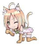 >;3 1girl ;3 absurdres ahoge all_fours animal_ears bandeau bell bell_collar blonde_hair brown_gloves brown_legwear cat_ears cat_tail chibi collar cototiworld elbow_gloves fur-trimmed_gloves fur-trimmed_legwear fur_trim gloves green_eyes highres looking_at_viewer marker_(medium) paw_pose short_hair simple_background solo spica_(yumekui_merry) tail thigh-highs traditional_media white_background yumekui_merry