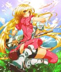 1girl 2_alice_2 black_shorts blonde_hair blue_eyes densetsu_no_yuusha_no_densetsu ferris_eris grass highres long_hair looking_at_viewer outdoors pink_hair shorts sky solo sword thigh-highs weapon