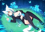 1girl animal_ears aqua_hair blue_eyes blue_hair blue_nails braid breasts butterfly butterfly_on_hand choker cleavage closed_mouth dress facial_mark flower fox_ears fox_tail frilled_sleeves frills full_body glowing_butterfly grass horns large_breasts light_smile long_hair long_sleeves lying multicolored_hair muryou nail_polish on_back on_ground original ripples slit_pupils solo tail thigh-highs two-tone_hair very_long_hair water white_hair yellow_eyes