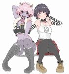 2girls arm_behind_head arm_warmers ashido_mina belt between_legs black_eyes black_hair black_legwear black_sclera blush boku_no_hero_academia boots casual choker clothes_writing crop_top cross-laced_footwear feather_boa hand_between_legs hand_on_another's_shoulder heart heart_necklace highres horns ina_(gokihoihoi) jirou_kyouka knee_boots midriff multiple_girls open_mouth panties panties_under_pantyhose pantyhose pantyshot pantyshot_(sitting) pink_hair plaid plaid_skirt plug purple_skin shoes short_hair short_shorts shorts sitting skirt smile striped tank_top underwear yellow_eyes