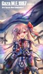 1997 1girl :d ? bag belt bird black_legwear blood blood_on_face bloody_clothes blurry bow braid copyright_name flag girls_frontline gloves hair_bow hair_ornament hairclip hexagram highres jugatsu_junichi lens_flare long_hair long_sleeves looking_at_viewer one_side_up open_mouth outdoors pantyhose pink_hair red_bow red_bowtie red_eyes red_ribbon ribbon sky smile sun teeth very_long_hair white_gloves