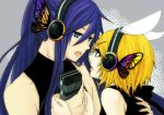 1boy 1girl blue_eyes butterfly_wings hair_ornament hair_ribbon hairclip headphones kagamine_rin kamui_gakupo long_hair magnet_(vocaloid) male microphone nail_polish ponytail purple_hair ribbon short_hair vocaloid wings