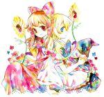 flower hakurei_reimu kirisame_marisa legomaru multiple_girls touhou traditional_media watercolor watercolor_(medium)