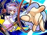 :p :q foreshortening hairband hands heart komeiji_satori pointing purple_hair red_eyes sakino_shingetsu short_hair slippers tongue touhou