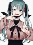 1girl :d absurdres artist_name bandaid bandaid_on_neck bangs bizet black_nails black_ribbon black_skirt center_frills choker detached_wings earrings eyebrows_visible_through_hair fangs frills hair_ribbon hands_up hatsune_miku heart_ring highres jewelry long_hair long_sleeves looking_at_viewer mask mouth_mask nail_polish open_mouth red_ribbon ribbon ring shiny shiny_hair simple_background skirt smile solo symbol_commentary twintails upper_body vampire_(vocaloid) vocaloid white_background wings