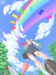 aqua_hair cloud clouds from_below hata_hata hatsune_miku highres legs long_hair looking_up midriff navel rainbow ripples school_uniform skirt sky slide solo swing tree twintails umbrella vocaloid water