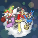 aegislash aggron christmas christmas_tree hat lucario mawile no_humans pokemon pokemon_(creature) ribbon santa_hat sleigh