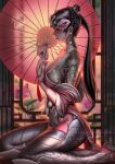 1girl bare_shoulders black_hair braid breasts closed_eyes collarbone commentary earrings english_commentary flower from_side hair_bun highres jewelry liang_xing long_hair medium_breasts overwatch pale_serpent_widowmaker parasol parted_lips patreon_username pearl_earrings ponytail red_lips seiza sideboob signature sitting skin_tight snake_tattoo solo tattoo taut_clothes umbrella watermark web_address widowmaker_(overwatch) window