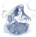 1girl bangs cotton_ball dancing furude_rika higurashi_no_naku_koro_ni hinamikan japanese_clothes long_hair looking_at_viewer miko monochrome sketch solo traditional_media very_long_hair