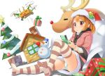 1girl blush brown_eyes brown_hair christmas christmas_tree drone gift hat house open_mouth original panties pantyshot reindeer santa_costume santa_hat short_hair sitting smile solo striped striped_legwear thigh-highs underwear wapokichi