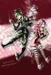 assault_rifle bird black_boots boots character_name chick collarbone copyright_name dress explosive fang flaky flippy green_eyes green_hair grenade gun happy_tree_friends hat highres messy_hair military military_hat military_uniform outline personification pink_eyes pink_hair rifle striped striped_legwear sweater sweater_dress thigh-highs torike_(cc3323) uniform weapon