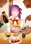 1girl :d ^_^ arkray bangs blurry bowl buttons chopsticks clenched_teeth closed_eyes collared_shirt depth_of_field emiya_shirou fate/stay_night fate_(series) flying_sweatdrops food fujimura_taiga hair_ribbon head_out_of_frame highres holding laughing long_hair matou_sakura meal open_mouth pointing purple_hair red_bowtie red_ribbon ribbon rice rice_bowl sauce shadow shirt smile solo_focus steam tofu vest white_shirt wooden_table