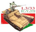 2girls anchovy artist_name belt black_hair black_shirt braid brown_eyes carro_veloce_cv-33 character_name dress_shirt drill_hair emblem flag_background food girls_und_panzer goggles green_hair grin hair_ribbon hand_on_hip hand_on_own_head helmet highres holding italian_flag jacket l3/33 long_hair long_sleeves military military_uniform multiple_girls necktie open_mouth pepperoni_(girls_und_panzer) pizza red_eyes ribbon riding_crop shao_(newton) shirt signature sitting smile standing twin_drills twintails uniform wind