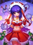 1girl bare_shoulders breasts candy candy_cane cleavage gloves hat highres long_hair maplestory midriff purple_hair sachimaa santa_hat solo violet_eyes