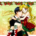 1boy 1girl belt bishoujo_senshi_sailor_moon black_hair blonde_hair blue_eyes boots carrying chiba_mamoru double_bun dress earrings flower frilled_skirt frills jewelry long_hair merry_christmas one_eye_closed open_mouth plaid plaid_shirt red_boots red_dress ribbon sarashina_kau shirt skirt smile star star_earrings strapless_dress tsukino_usagi twintails very_long_hair