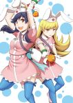 2girls animal_ears black_hair blonde_hair brown_eyes cosplay kanbaru_suruga long_hair monogatari_(series) multiple_girls murata_isshin nakahara_komugi nakahara_komugi_(cosplay) nurse nurse_witch_komugi-chan oshino_shinobu rabbit_ears thigh-highs wand yellow_eyes
