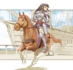 1girl armor armored_boots astrid belt black_hair bow_(weapon) fire_emblem fire_emblem:_souen_no_kiseki gauntlets harbor horse horseback_riding long_hair looking_to_the_side pants quiver riding serious solo weapon white_pants