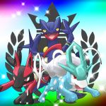 alternate_color black_eyes claws highres lucario mikoshiba_manha_sewashii multicolored_background no_humans open_mouth pointy_ears pokemon pokemon_(creature) pokken_tournament red_eyes sceptile simple_background sparkle suicune yellow_sclera