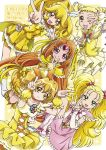 5girls :d arm_warmers bike_shorts blonde_hair boo_(takagi) boots bow brown_eyes brown_hair bubble_skirt choker circlet color_connection cure_lemonade cure_muse_(yellow) cure_peace cure_pine double_bun double_v fresh_precure! frills futari_wa_precure futari_wa_precure_max_heart green_eyes hair_bow hair_color_connection hair_ornament heart heart_hair_ornament highres kasugano_urara_(yes!_precure_5) kise_yayoi knee_boots kujou_hikari leg_warmers long_hair looking_at_viewer magical_girl multiple_girls one_eye_closed open_mouth orange_bow pink_bow pink_skirt polka_dot polka_dot_background precure puffy_sleeves red_eyes shiny_luminous shirabe_ako short_hair shorts_under_skirt side_ponytail skirt smile smile_precure! suite_precure twintails v white_bow wrist_cuffs yamabuki_inori yellow yellow_background yellow_bow yellow_eyes yellow_skirt yes!_precure_5 yes!_precure_5_gogo!