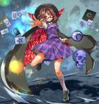 1girl brown_eyes brown_hair cape cellphone glasses hat long_sleeves looking_at_viewer outstretched_arm phone red-framed_glasses runes shirt skirt skirt_set skull smartphone smile solo touhou umigarasu_(kitsune1963) usami_sumireko vest zener_card