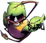 artist_name fangs full_body leaf looking_at_viewer no_humans pokemon pokemon_(creature) sido_(slipknot) simple_background solo victreebel white_background