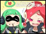 2girls :3 ^_^ agent_3 black_border blush border closed_eyes eromame fingerless_gloves gloves green_hair inkling multiple_girls pocky redhead splatoon takozonesu tentacle_hair