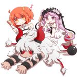 1boy 2girls asterios_(fate/grand_order) black_sclera cuffs euryale fate/grand_order fate_(series) female_protagonist_(fate/grand_order) hair_brush horns long_hair lying mane motiumai multiple_girls musical_note on_stomach open_mouth orange_eyes purple_hair red_eyes redhead scar shackles side_ponytail smile twintails very_long_hair violet_eyes white_hair